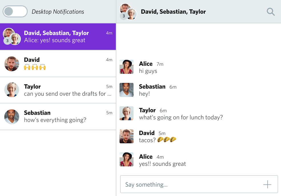TalkJS Inbox UI showing a group chatting about tacos
